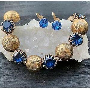 Vintage Kramer Chunky Gold/Blue Bracelet/Earrings